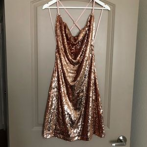 Rose Gold Sequin cocktail dress